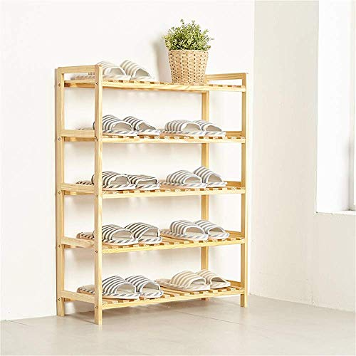 Zapatero de múltiples capas de madera maciza simple zapato gabinete a prueba de polvo del hogar Asamblea pino Zapatos Estante de múltiples funciones de almacenamiento en rack de madera, 70X25X88Cm, 70