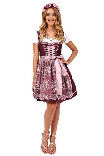 Krüger Dirndl 49705-90 Bordeaux | Modell Aralie 50er Länge kurz | Farbe weinrot rosa | Spitzenschürze (32)