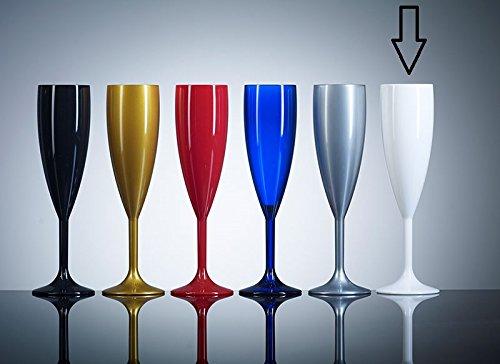 Plastique polycarbonate Flûtes de champagne blanc | Pack de 12 | Pratiquement incassable