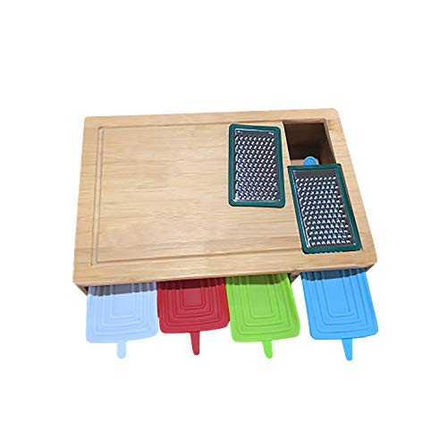 Organic Bamboo Chopping Board, Large Wood Cutting Board with 4 Drawers Containers, 2 Graters, 4 Colorful Covers, LIDS are Made of Silicone, LIDS are Elastic, Flexible, Soft not Hard, Bendable
