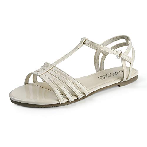 SANDALUP Flat Sandals with Velcro Creamy White 09