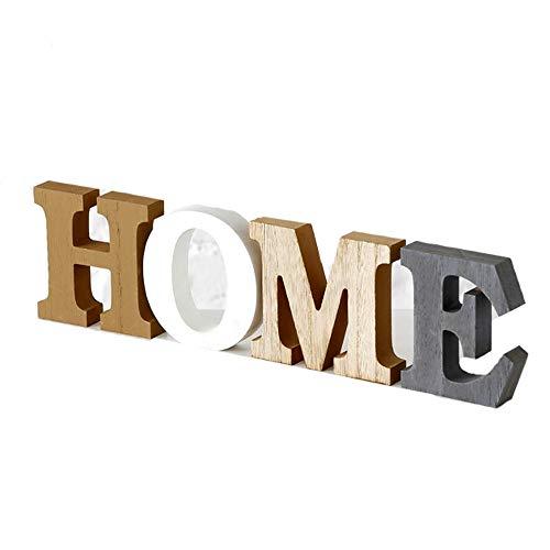 LB H&F Schriftzug Home zum hinstellen Buchstaben Holz Natur Grau Braun Weiß 35 cm Gross (Home)