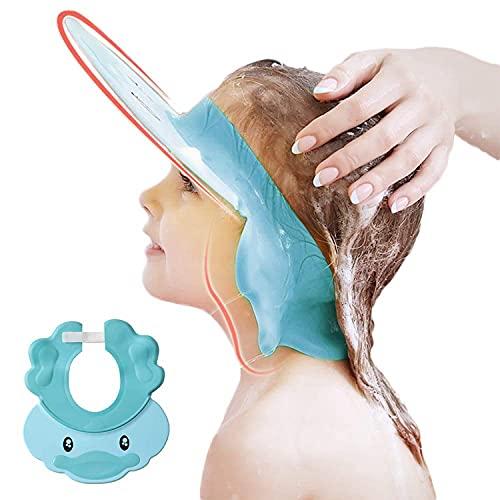 Duschhaube Kinder, Baby Verstellbarer Shampoo Schutz, Shampoo Bade Bad SchüTzen Weiche Kappe Hut, Kappe Wasserdicht Cap für Mehr als 6 Monate(Kopfumfang über 38cm) Blau