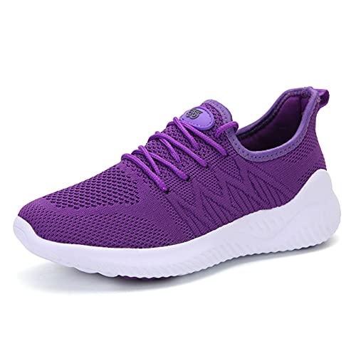 SONGJOY Zapatillas de deporte para mujer, ligeras, transpirables, de punto, para exterior, amortiguación, fitness, gimnasio, correr, caminar, etc., color, talla 40 EU