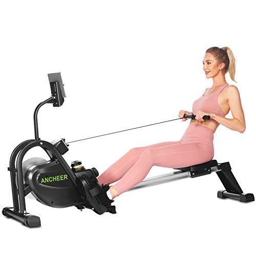 ANCHEER Vogatori per Casa Vogatore da Fitness 10 Livelli di Resistenza/Orologio Digitale/Cuscino...