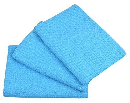 SINLAND ワッフルフェイスタオル 台布巾 食器拭きワッフルタオル ガラス拭きクロス(3枚 ブルー)40cmx60cm