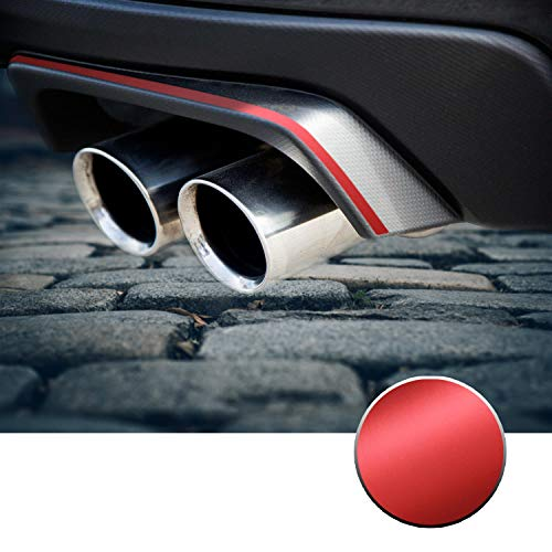 Optix Rear Bumper Exhaust Pinstripe Vinyl Decal Overlay Wrap Trim Inserts Sticker Compatible with and Fits WRX STi 2015 2016 2017 2018 2019 2020 - Metallic Matte Chrome Red