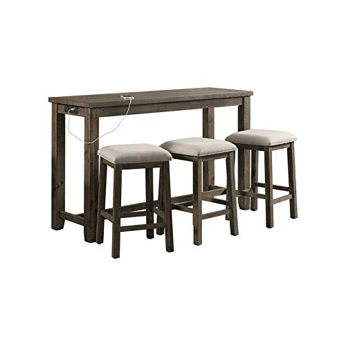 BOWERY HILL Sussex Multipurpose Home Bar Living Room Sofa Table Set with 3 Upholstered Stools in Gray Finish and Dark Taupe Fabric
