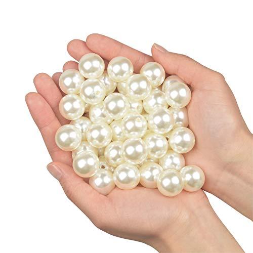 Vetro Perla Rotonde Perline per collane 45pz 20mm perline sfuse in plastica per riempitivi vaso/collane gioielli fai-da-te/Decorazione di nozze/festa di compleanno decorazione domestica (avorio 20mm)