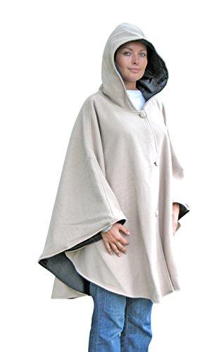 Capa reversible con capucha, con lado polar y lado impermeable, color beige y negro