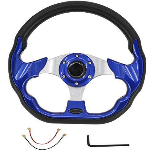 Blue Golf Cart Steering Wheel for Compatible with EZGO Club Car Boat Racing Style Steering Wheel Aluminum Frame With Horn