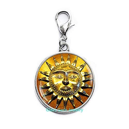 Broche de langosta de sol, estilo antiguo, cierre medieval, cierre de mosquetón, cierre de cremallera de sol, cara de sol, joyería bohemia para el sol, cierre de cremallera bohemio, encantador sol, Q0125