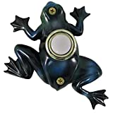 Waterwood Hand Painted Frog Doorbell - Wired & Illuminated Push Button Cast in Durable Polyresin