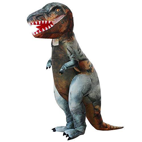 Happy Island Aufblasbare Kleidung T-Rex Dinosaurier Tyrannosaurus Aufblasen Kostüme Weihnachten Halloween Cosplay Kleidung für Erwachsene - grau - Large