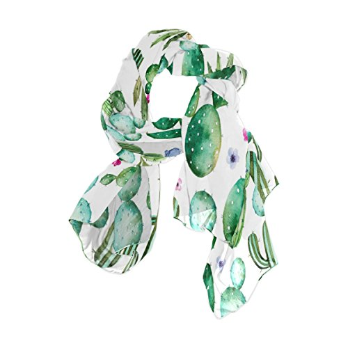 Use4 Fashion Watercolor Cactus Plant Chiffon Long Scarf Shawl Wrap