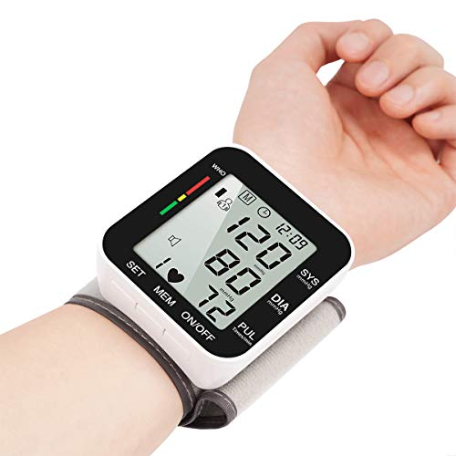 Digital Wrist Blood Pressure Monitors, Fully Automatic Accurate Digital Wrist BP Machine with Voice Broadcast, Large LCD Display, Automatic Accurate 2x99 Reading Memory (Black) Blood Monitors Pressure