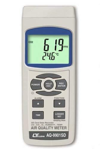 6-i-1 luftkvalitet realtid datalogger mätare CO CO2 O2 syre dygnpunkt luftfuktighet temperaturmätare LQ3