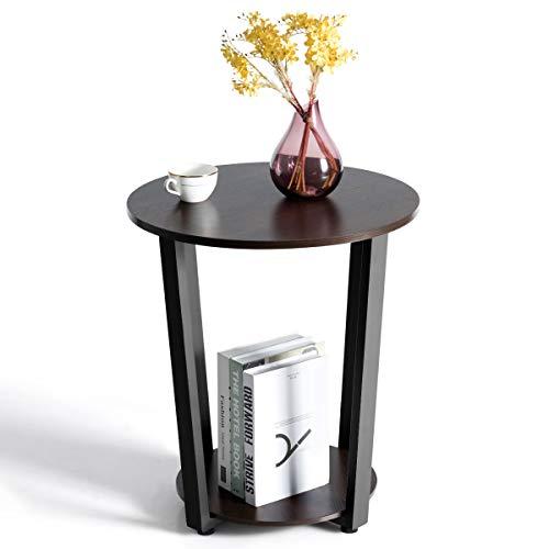 COSTWAY Beistelltisch rund, Kaffeetisch Holz, Nachttisch mit Metallgestell, Industrie Sofatisch mit Ablage, Telefontisch für Wohnzimmer Schlafzimmer Ø50x56cm (Dunkelbraun)