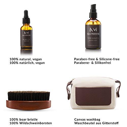 Bartpflege Set, Bartoel und Bartschampoo, Vegane Naturkosmetik, Bartbuerste  Abbildung 3