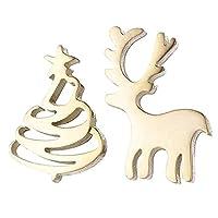 (F) クリスマスツリーとトナカイのステンレスピアス (カラー)ゴールド キャッチピアス スタッドピアス レディース 1ペア 左右 2個 アシンメトリー 両耳 冬 シンプル Xmas 20G