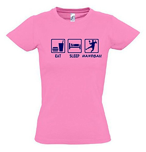EAT Sleep Handball Kinder T-Shirt pink-Navy, Gr.164cm