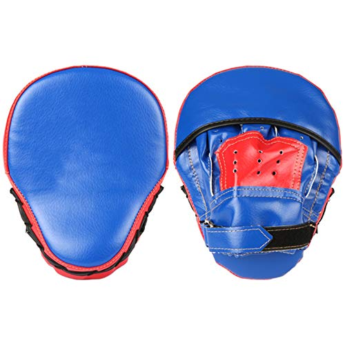 QuRRong Almohadilla de Boxeo Kick Muay Thai Pikning Pads Training Mitts Punching Almohadillas Deportes al Aire Libre Mittens Práctica para Artes Marciales de MMA (Color : Azul, Size : 23x19x5cm)