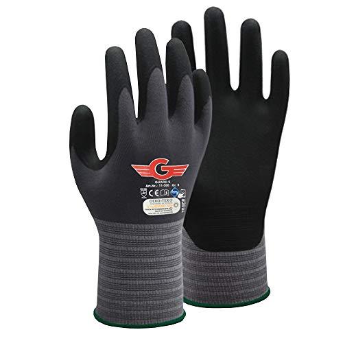 5 Paar Arbeitshandschuhe - GUARD 5 - Flexible und griffsichere Nitril beschichtete Montagehandschuhe (Touchscreen fähig)- robust und langlebig - Griphandschuhe Gartenhandschuhe