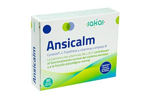 Sakai –Ansicalm- Reduce los nervios, el ánimo bajo y la ansiedad– Duerme mejor y descansa más – Ayuda a la relajación – Rápida acción- L-Triptófano, Vitaminas B y Cyracos® - Extracto patentado de Melisa