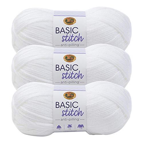 (3 Pack) Lion Brand Yarn 202-100 Basic Stitch Anti Pilling Yarn, White
