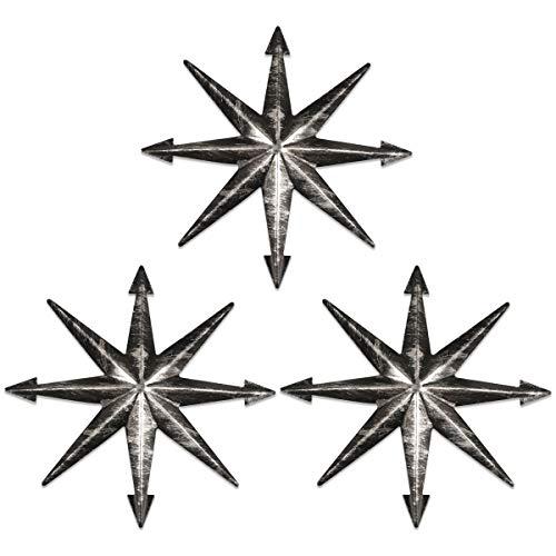 YiYa 3PCS Distressed Metal Star Star Art Decorazione da Parete per Soggiorno Dormitorio Decorazione Domestica Vintage Western Country Home Agriturismo Decorazione da Parete, Nero 20CM