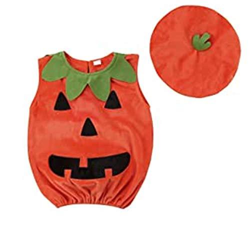 Disfraz Halloween para Unisex Beb Conjuntos Calabaza Mameluco sin Manga con Sombrero 2Pcs Fiesta Cosplay Ropa (Naranja, 0-6 Meses)