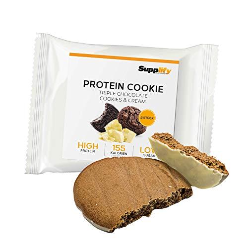 Supplify Protein Cookie (Triple Chocolate Cookies & Cream) mit bestem Whey Eiweiß und wenig Zucker (24x40g)
