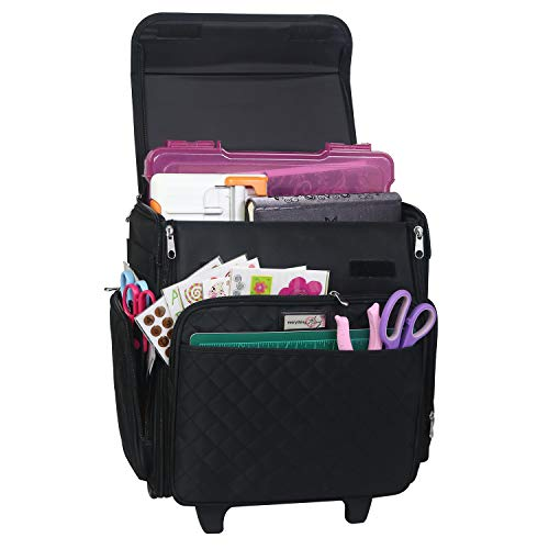 Everything Mary Collapsible Rolling Craft Bag, Black Quilted - Tote with Wheels for Scrapbook & Art Storage - Organizer Case for IRIS Boxes, Supplies, and Accessories - for Teachers & Medical