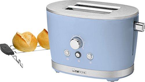 Clatronic TA 3690 Rock'n'Retro 2-Scheiben-Toaster mit Brötchenaufsatz, Krümelschublade, Auftaufunktion, Aufwärmfunktion, Schnellstoppfunktion, Blau
