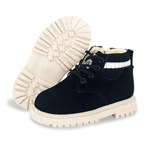 BENHERO Kids Boys Girls Boots Rain Winter Snow Ankle Booties | Classic and Waterproof | Hiking Outdoor Martin Boots (Toddler/Little Kid)(10.5 Toddler,F/Black with Fur)