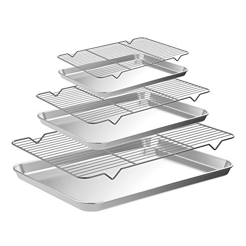 CEKEE Sheet Pan, 6pcs (3 Pans + 3 Racks) Stainless Steel Professional Baking Set with Cooling Rack,Nonstick Microwave Oven BBQ Tray Accessories (9+12+18INCH)