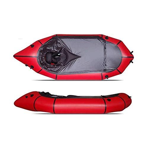 BZLLW Kayak Inflable, Standard Solo Barco, se Puede Utilizar for el Nivel de Agua Blanca 3 Aventura Rafting, Senderismo Aventura, Balsa Crossing, Bote de Rescate, Plana en Aguas bravas (Color : Red)