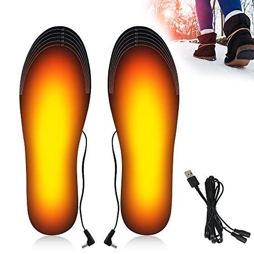 SPECOOL Plantillas Calefactables USB,Calentadores Térmicos Recargables para Pies, Plantillas Eléctricas de Invierno Lavables, Plantilla Cortable con Calefacción, tamaño 41-46