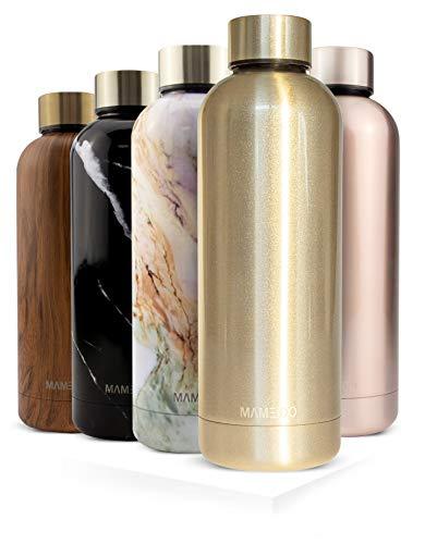 MAMEIDO Trinkflasche Edelstahl - Champagner Gold - 500ml,0,5lThermosflasche - auslaufsicher, BPA frei -schlankeisolierte Wasserflasche,leichtedoppelwandige Isolierflasche
