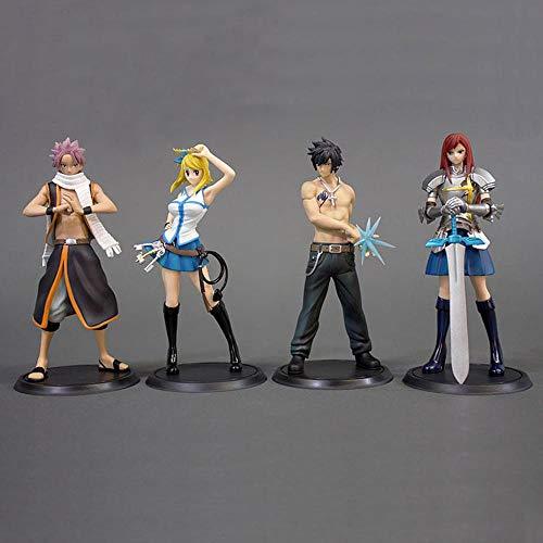BINGFENG Anime Figur Fairy Tail 4pcs Charakter Modell Puppe PVC Vinyl Figuren Sammlung Spielzeug Kinder Teenager und Anime-Fans 15CM