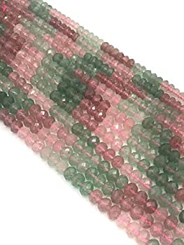 """Natural AAA 4x6mm Rondelle Faceted Multi-Color Strawberry Quartz Gemstone Loose Beads for Jewelry Making 15.5"""" Full Strands"""