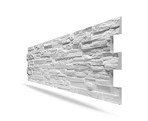 Panel de imitación piedra reconstruida 3D de poliestireno blanco 150 x 50 cm