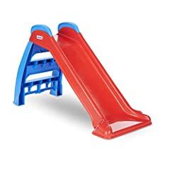 Perfect beginner's slide, sized especially for younger kids (3-feet long) Folds down without tools for compact storage and moving Product Size: 23.00''L x 18.00''W x 39.00''H and Slide length: 38.00''L.Handrails snap into place Kids can use the slide...