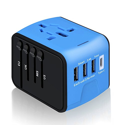 MokenEye Universal Travel Adapter Power Converters for International Travel High Speed 2.4A x 3 USB Port and 3A Type-C Wall Charger,European Adapter, AC Wall Outlet Plugs Adapters for US, EU, UK, AU