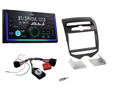 Autoradio Einbauset geeignet für Hyundai IX20 inkl. JVC KW-X830BT & Lenkrad Fernbedienung Adapter in Matt-Schwarz