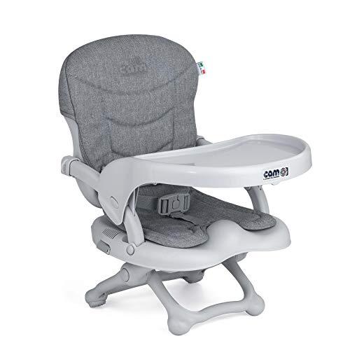 CAM Sitzerhöhung SMARTY POP | Flexibler Boostersitz & Reisekindersitz Kinder & Kleinkinder | faltbar & höhenverstellbar | 4 Höhen (0-18 cm) | Universal-Befestigung am Stuhl (Bezug grau)