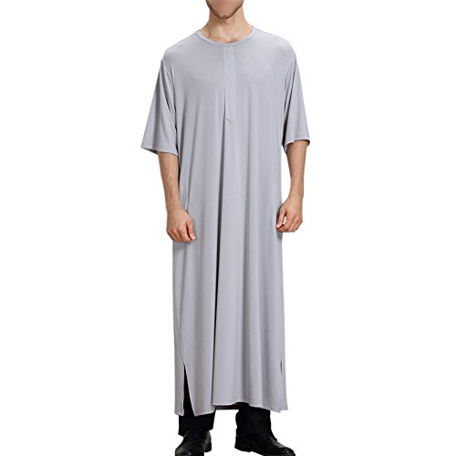 Haodasi Muslim Rundhals Halbe Hülse Pure Farbe Saudi Arabien Herren Thobe islamisch Dubai Robe Dishdasha Ethnische Kleidung Pakistan Hindu Jüdisch Kandoura Abaya,TH807