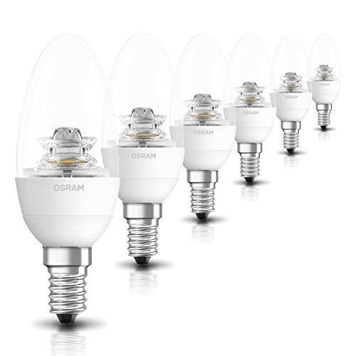 OSRAM LED SUPERSTAR Ampoule LED, Forme flamme, Culot E14, Dimmable, 6W Equivalent 40W, 220-240V, claire, Blanc Chaud 2700K, Lot de 6 pièces