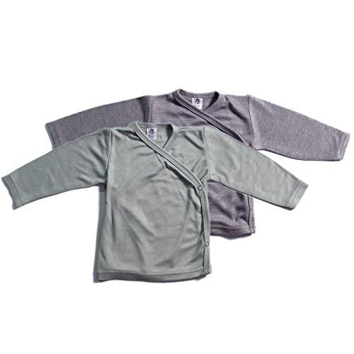 Booboobro Booboobro 100% Bambus Jungen Baby Langarm Wickelshirt im 2er Pack (Grau/Grün 62)