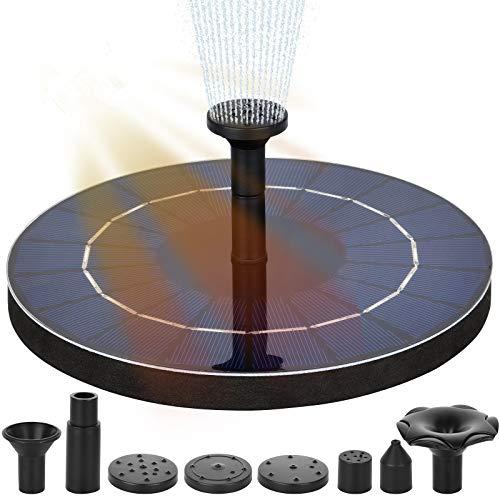 Solarbrunnen, Solarteichpumpe, Solarwasserpumpe mit 8 Düsen, Solarschwimmbrunnenpumpe für Gartenteich oder Springbrunnen Vogelbad Aquarium
